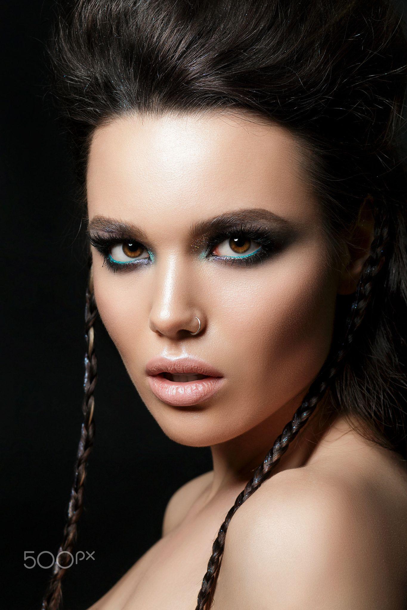 Snow Queen, creative closeup portrait. Young woman Snow