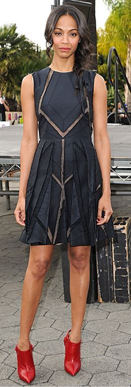 Who made Zoe Saldana's black dress and red ankle boots?