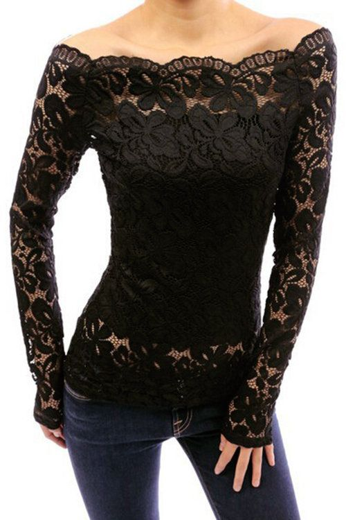 ac43f2524ff0 Sexy Black Off Shoulder Long Sleeve Lace T-shirt - US$15.95 | Style ...