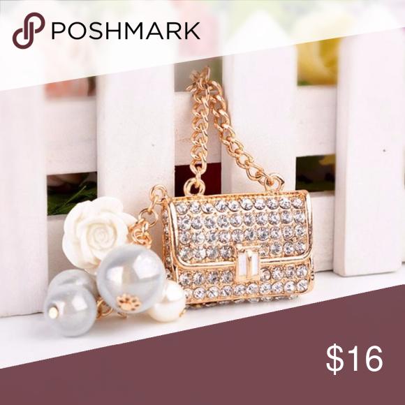 bdd954d9dccf NEW Pearl Purse Handbag Charm / Keychain *BRAND NEW* *Crystal Keychain Ring  *You can use it on: ...