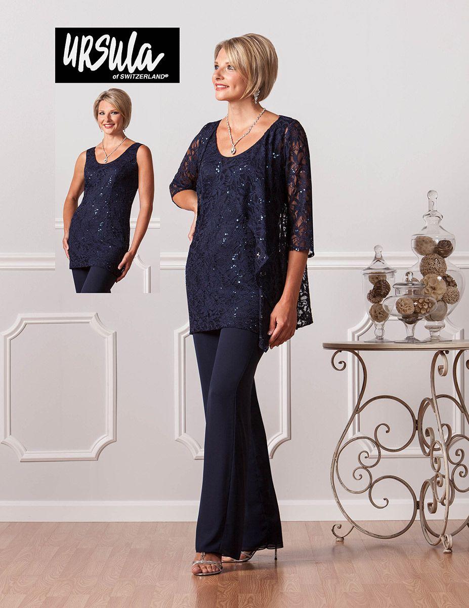 Ursula of Switzerland 41345 Stretch lace and silky chiffon three ...