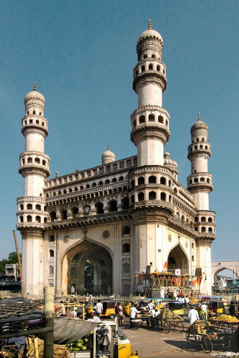 The Char Minar, the triumphal gate with four minarets, marks the heart of very Moslem Hyderabad
