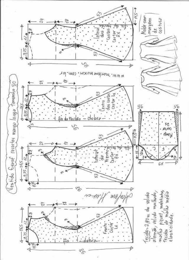 Patrón de Vestido manga larga - Patrones gratis | patrones ...