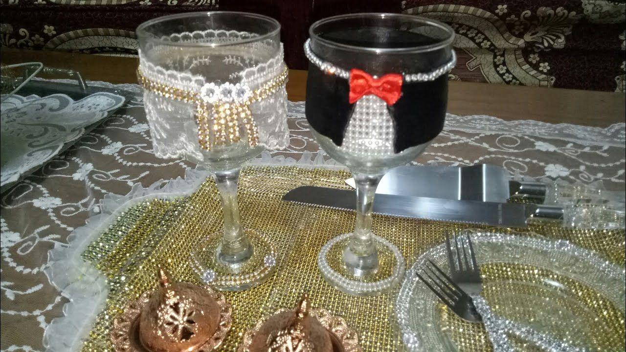 كيفية تزيين صينية و كؤوس الخطوبة بطريقة سهلة Wedding Glasses Diy Diy Craft Projects Diy Crafts