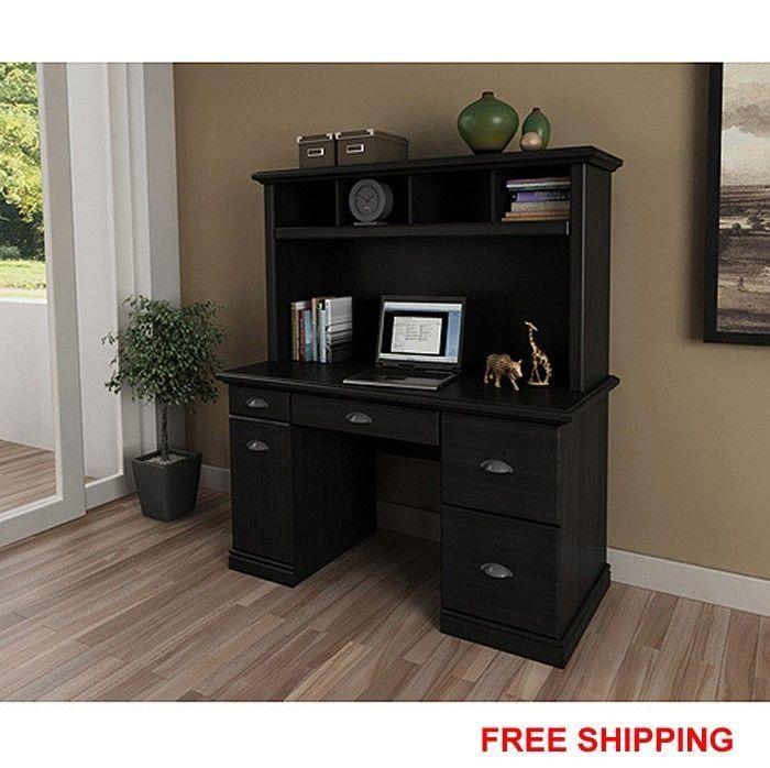 Computer Workstation Modern Executive Black Desk Hutch Furniture Office Home New