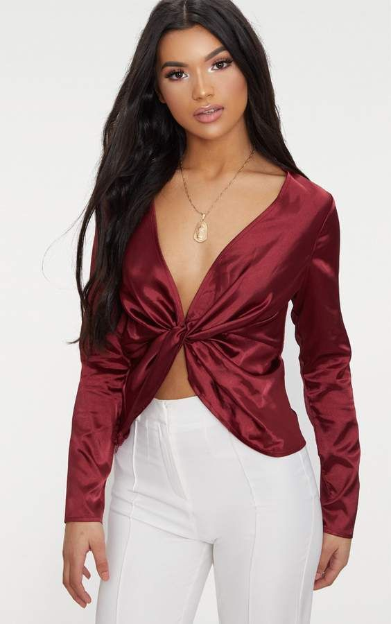 PRETTYLITTLETHING Champagne Satin Twist Front Long Sleeve Blouse Discount Perfect Clearance New dpoNm