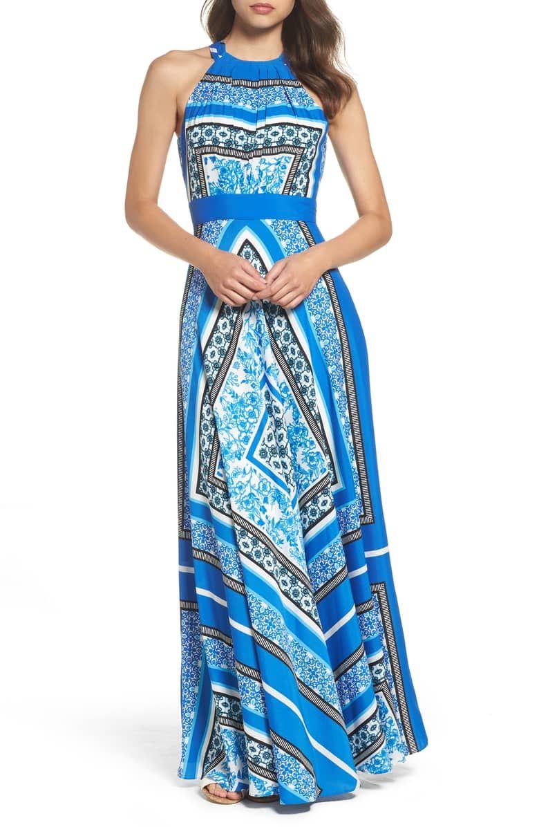 Eliza J Scarf Print Halter Crêpe de Chine Maxi Dress