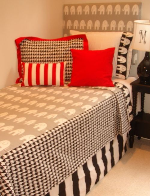 Design Your Own Dorm Room: Houndstooth And Elephant Fabrics Design Your Own Dorm Room