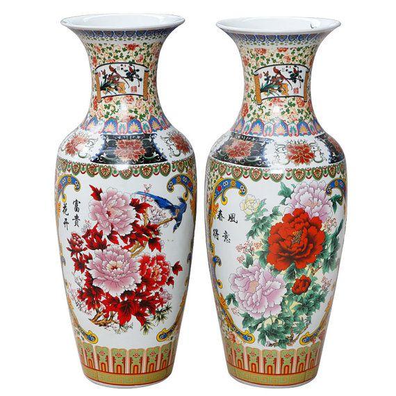 Peony Flower Porcelain Ceramic Vintage Big Vase by HomeCraftsShop