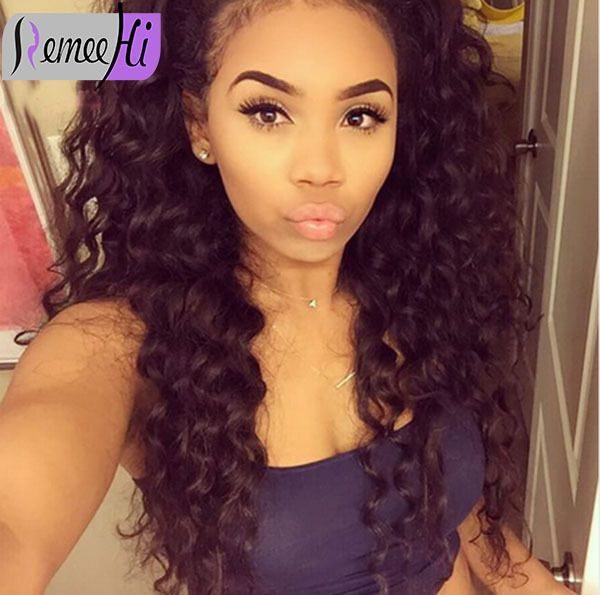 Spanish Loose Curly Indian Human Remy Hair Front Full Lace Wig Baby