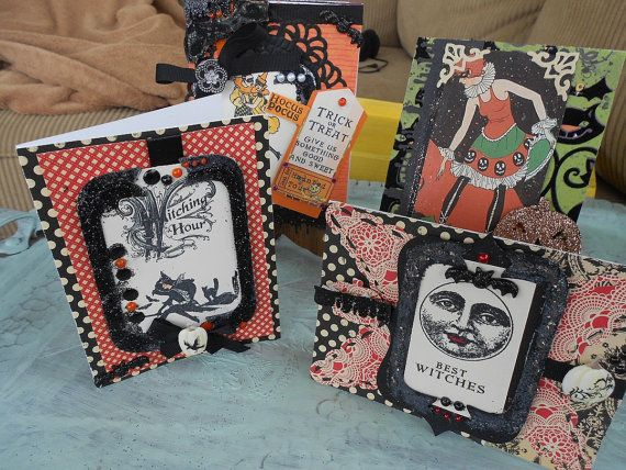 Halloween Card Set of Four by BarbarasNook on Etsy