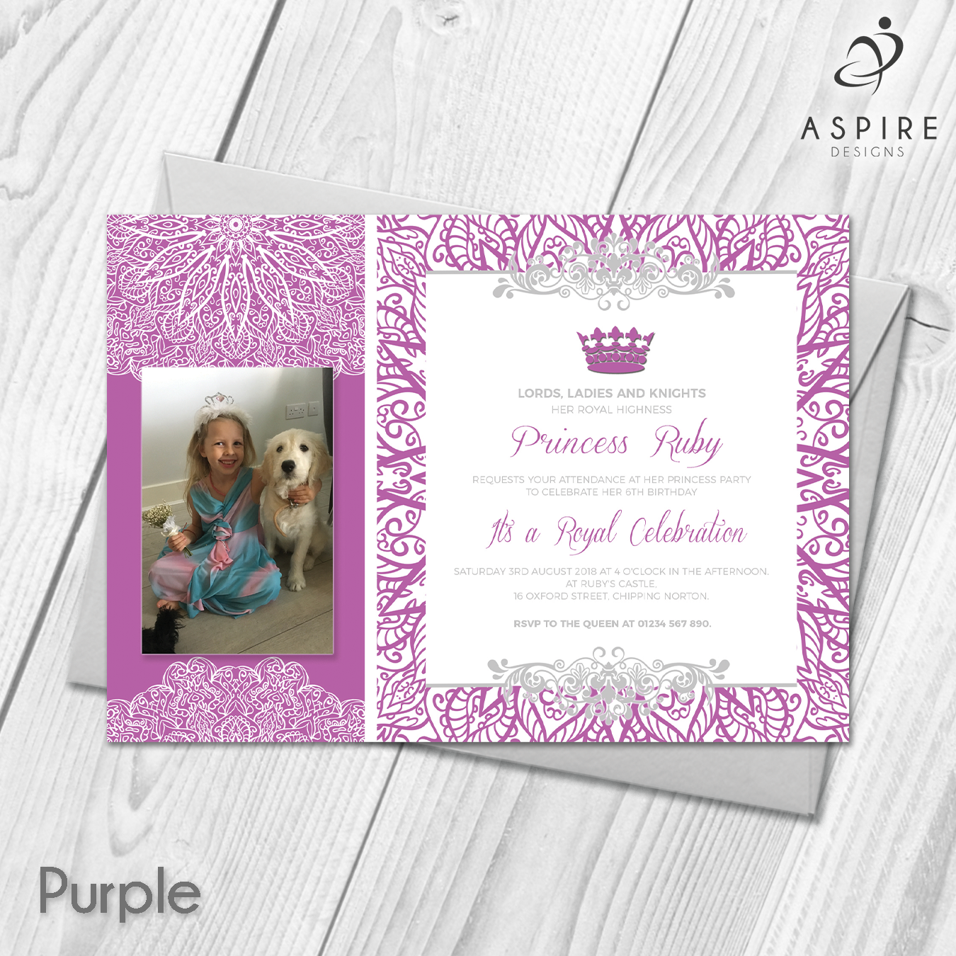 Personalised girls princess birthday party invitations with photo personalised princess girls birthday party invitations cards with photo custom made with your own photos and text all orders include free uk 1st class royal stopboris Image collections