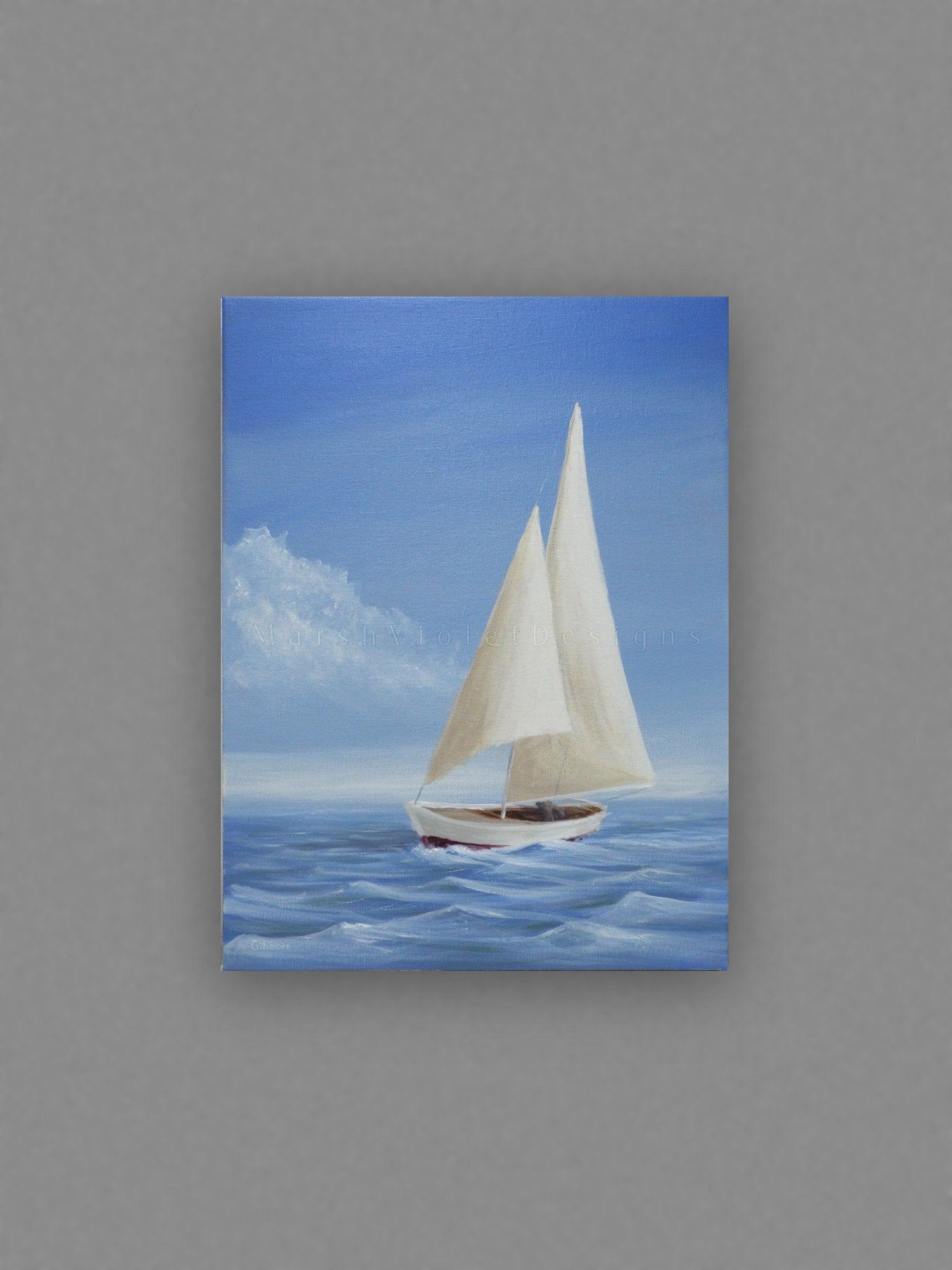 Photo of Sailboat Art, Original Painting, Nautical Decor, 12×16 inch Acrylic on Canvas, Blue White Red, Sailing, Sail Boat Ocean, Coastal Beach Lake