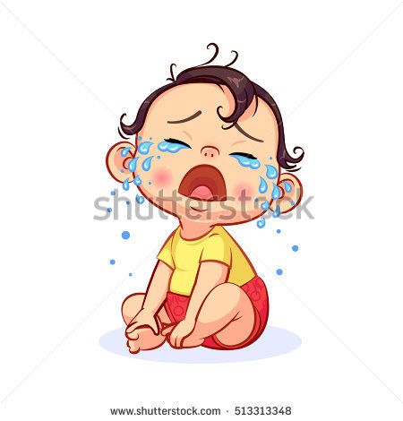 Cartoon Sitting And Crying Little Baby Boy With Mouth Wide Open Colorful Vector Illustration Of Emotion Crying Girl Drawing Baby Cartoon Drawing Baby Drawing