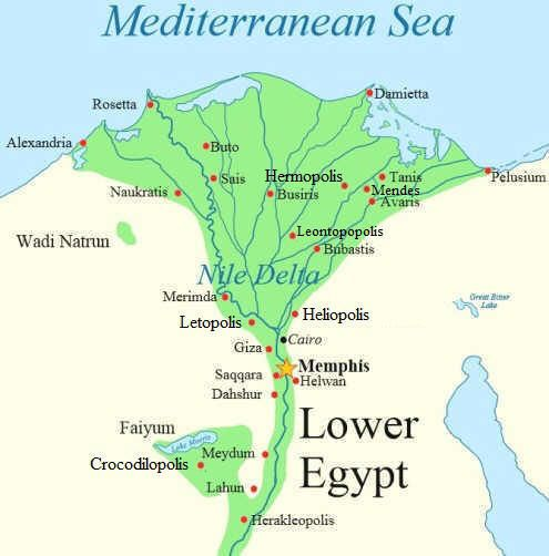 Memphis Egypt Map Map of Lower Egypt   Hermopolis, Heliopolis, Memphis & Thebes  Memphis Egypt Map
