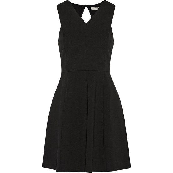 Halston Heritage Cutout pleated ponte mini dress (640 BRL) ❤ liked on  Polyvore featuring