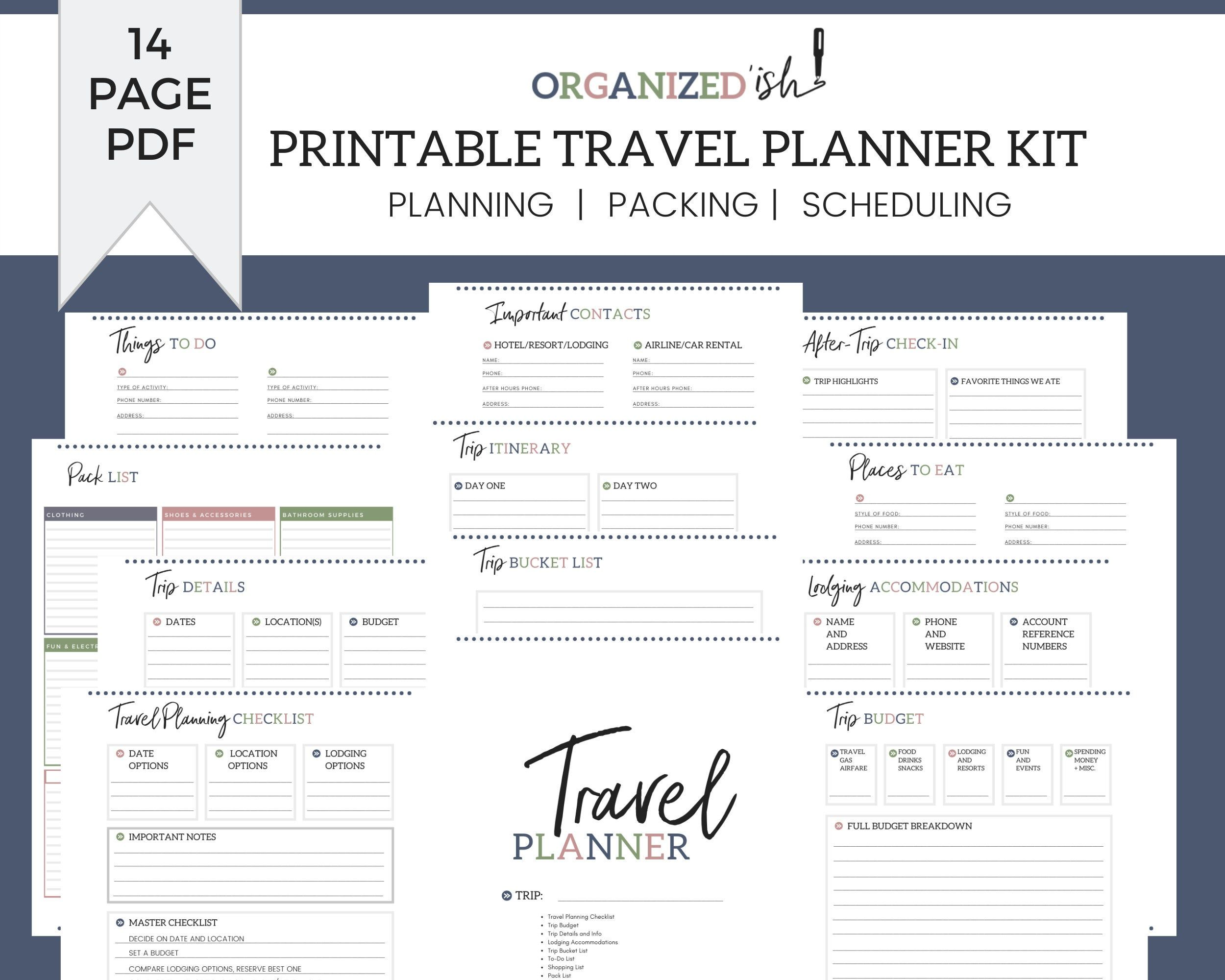 Printable Family Vacation Planner Kit And Travel Organizer