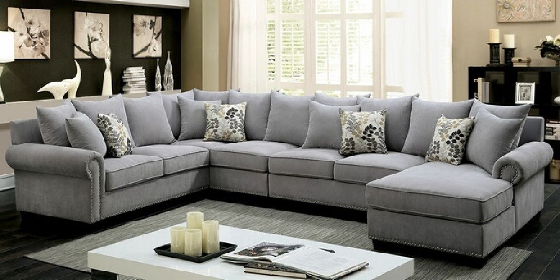 Awesome Grey Sectional Sofa with Nailhead Trim  -  Sectional sofa with Nailhead Trim Photos