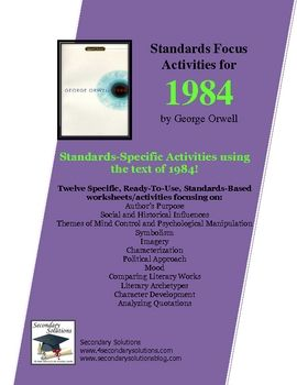 complete set of literary analysis standards focus activities for  complete set of literary analysis standards focus activities for getting the most out of teaching 1984 by george orwell