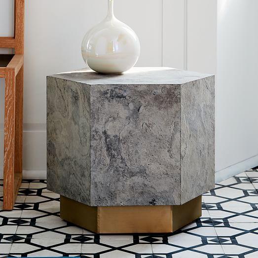 Geo Hex Side Table Slate West Elm Furniture Modern Side Table Side Table