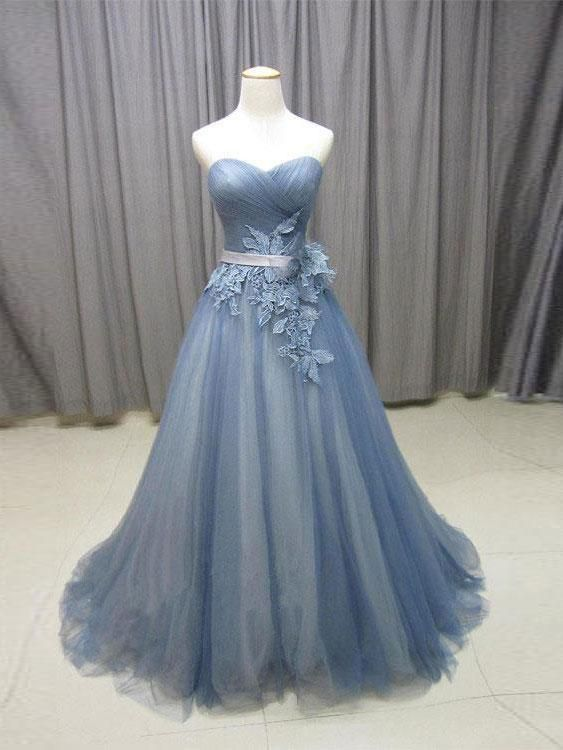 Strapless Dusty Blue Corset Ball Gowns Tulle Lace Applique Long Prom ...
