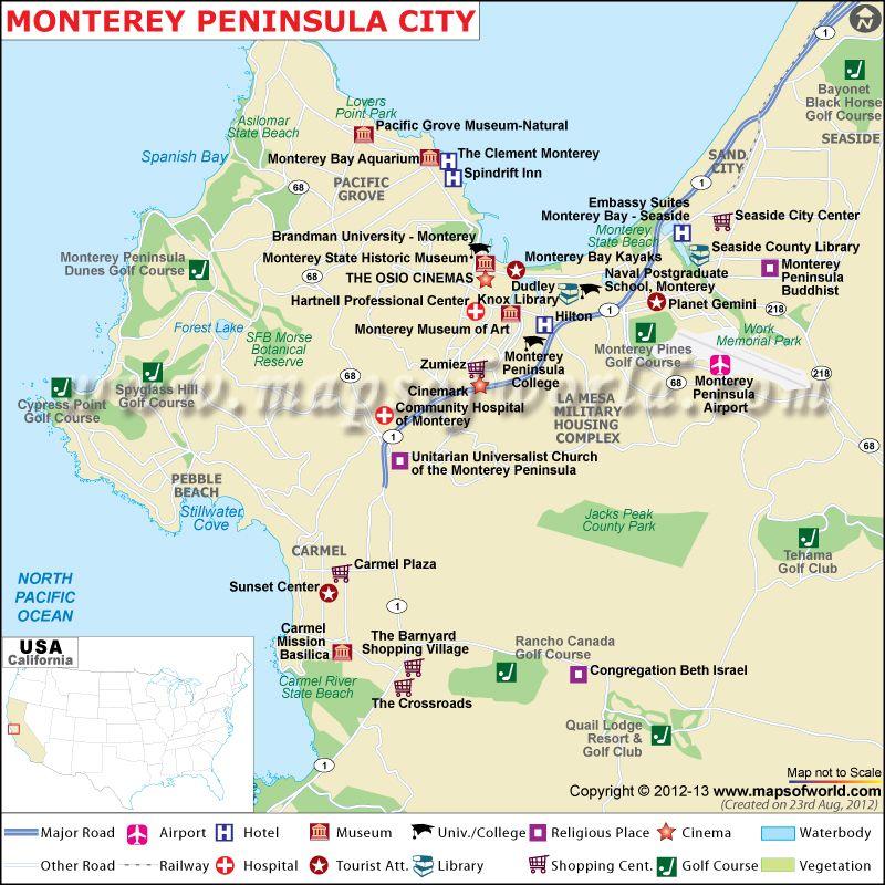 Monterey Peninsula City Map North America Pinterest