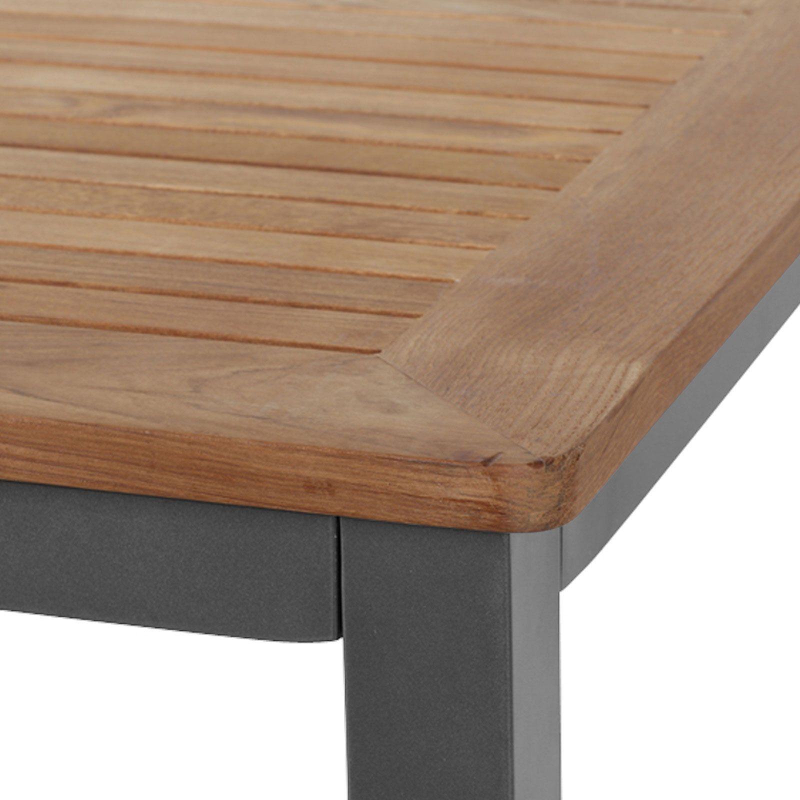 Siena Garden Savina XL/Geneva Esstischgarnitur graphit/grau Alu/Teak/Texfabric Tisch 160×90 cm 4 Multipos.