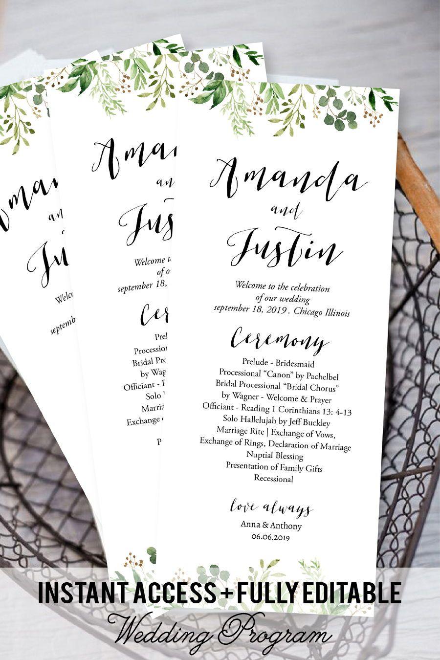 Kraft Program Printable Foliage Wedding Program Template Tea