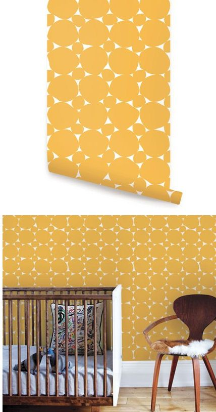 Dots Yellow Peel and Stick Wallpaper - Wall Sticker Outlet | Peel ...
