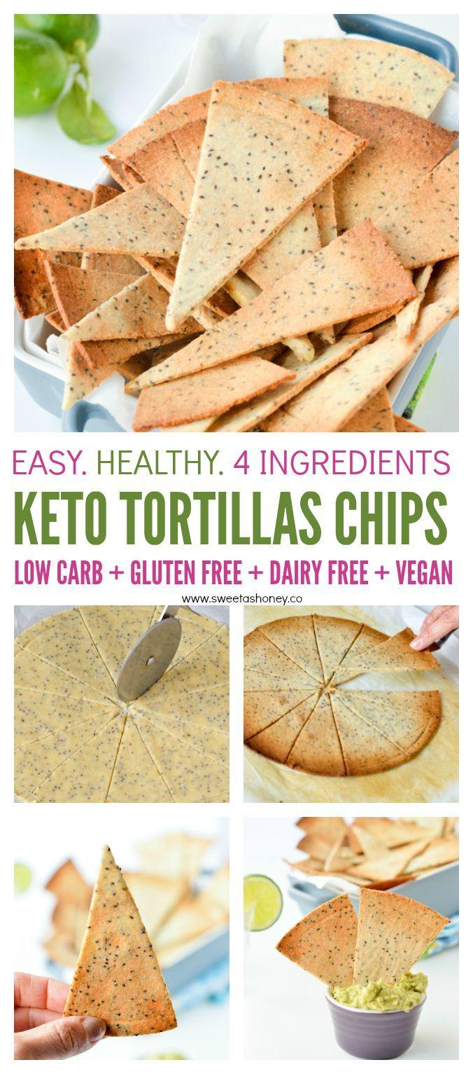 Chips de tortillas cuites au four Keto. De la farine d'amande saine faite maison éclate 100% de ...,...