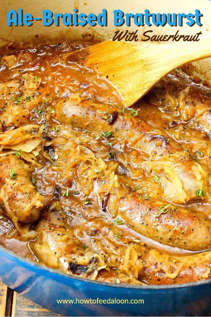 Ale-Braised Bratwurst and Sauerkraut #octoberfestfood