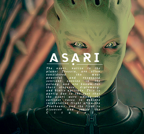 I'm not sure why they picked Shiala for the picture, since most asari aren't green, but whatev!