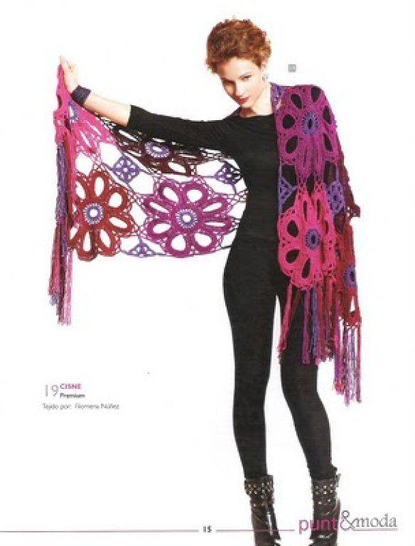 Chal Crochet Flores Gigantes - free chart | Ganchillo | Pinterest ...