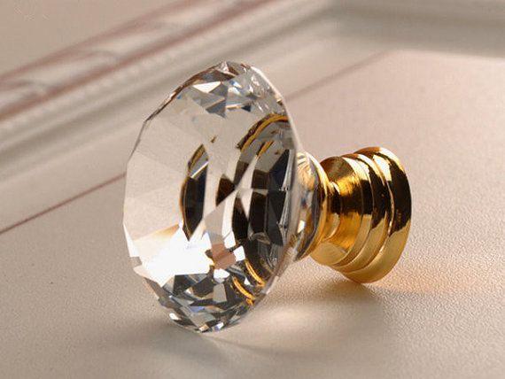 Glass Knobs Crystal Knobs Dresser Knob Drawer Pulls Handles Clear Gold Kitchen