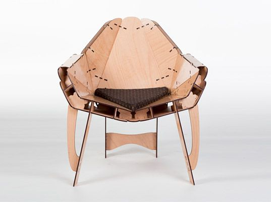 This flatpack lasercut furniture assembles without glue or