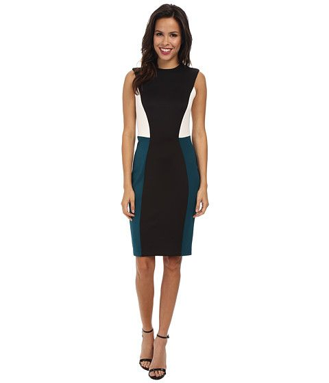 Calvin Klein Calvin Klein  Scuba Color Block CD4M1078 BlackCypressCream Womens Dress for 95.99 at Im in!