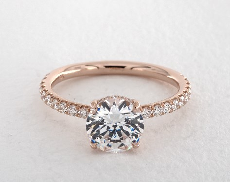 14k Rose Gold Single Row Pave Basket Engagement Ring Rose Gold Engagement Ring Simple Engagement Ring Designs Unique Engagement Rings