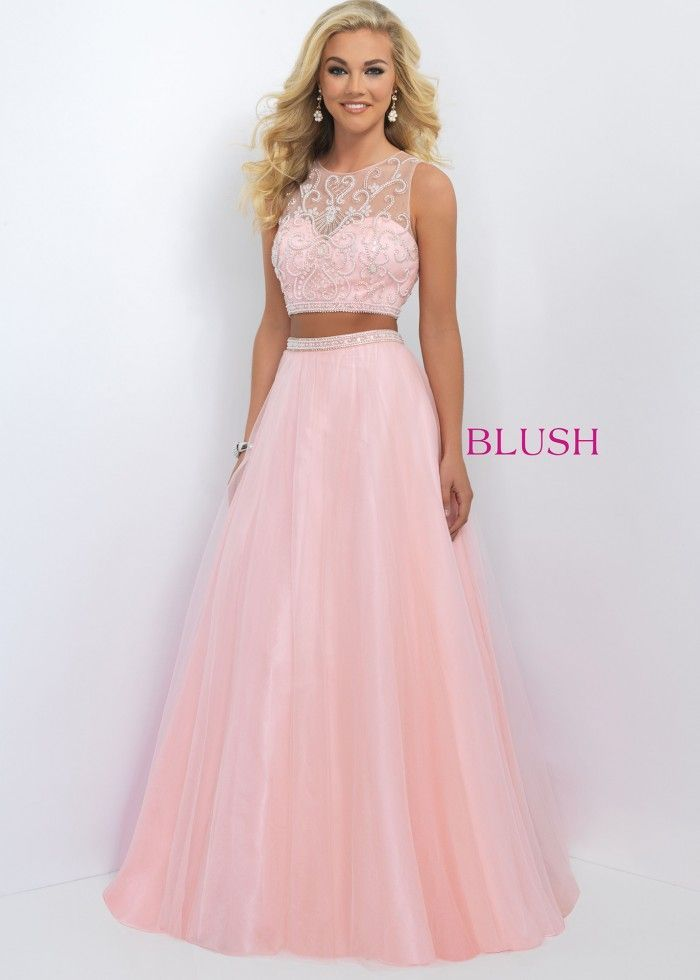 2016 Fancy Beaded Sexy Pink Two Piece Tulle Gown Trendy  blush 11022 pink   –  192.00   Hot Sale Prom Dresses 04d44e726ca8