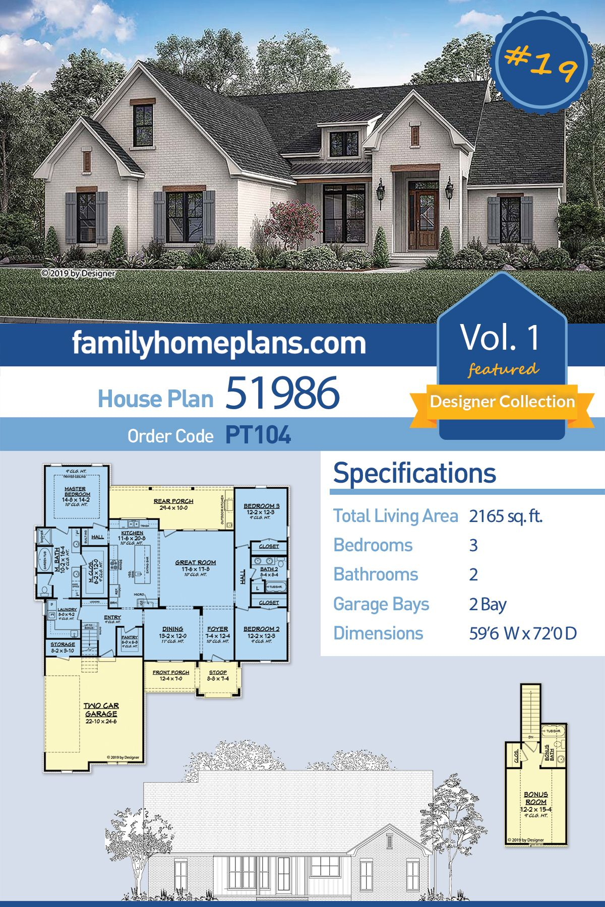 Traditional Style House Plan 51986 With 3 Bed 2 Bath 2 Car Garage House Plans Farmhouse House Plans Family House Plans