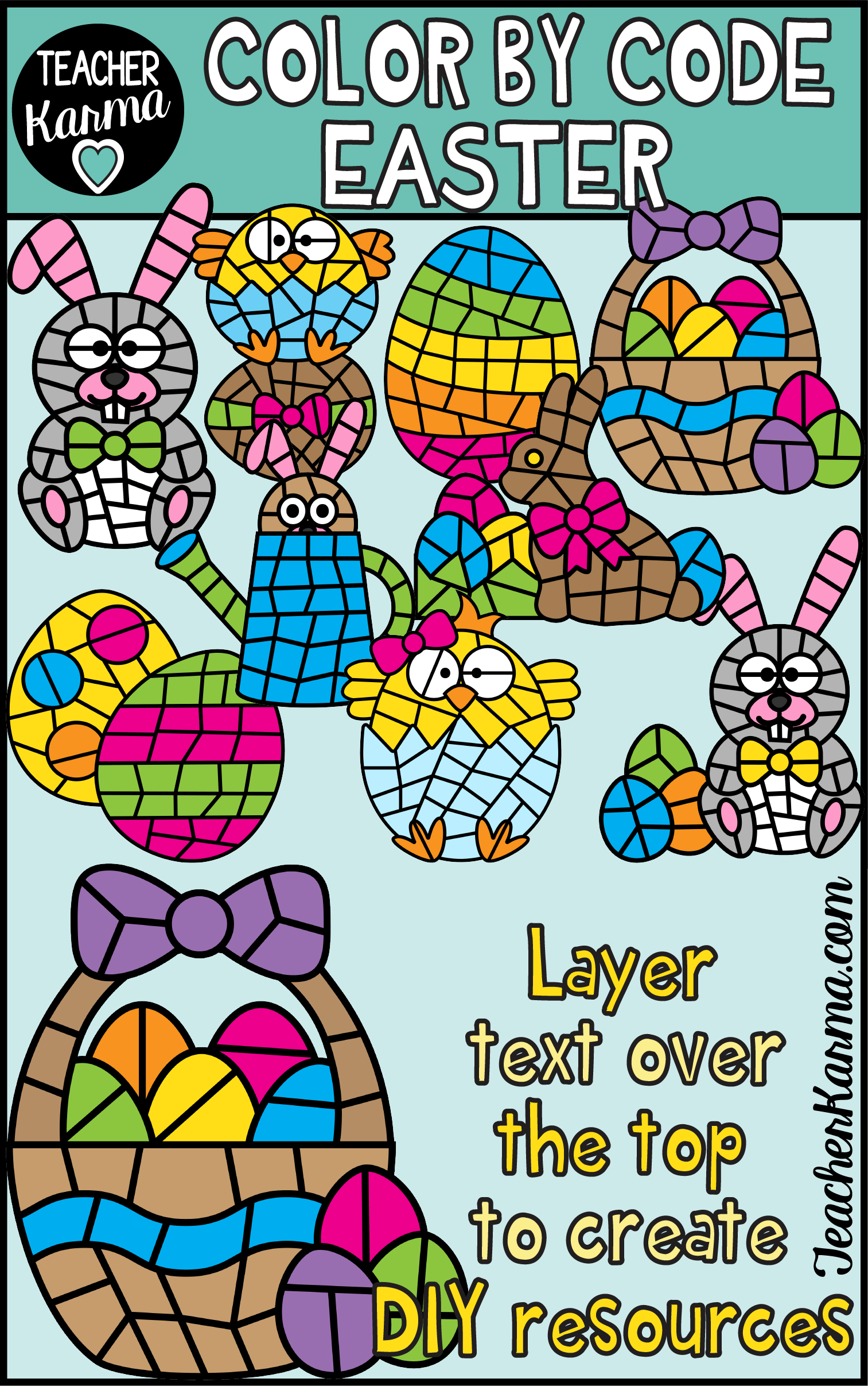 Easter Color By Code Clipart For Spring In