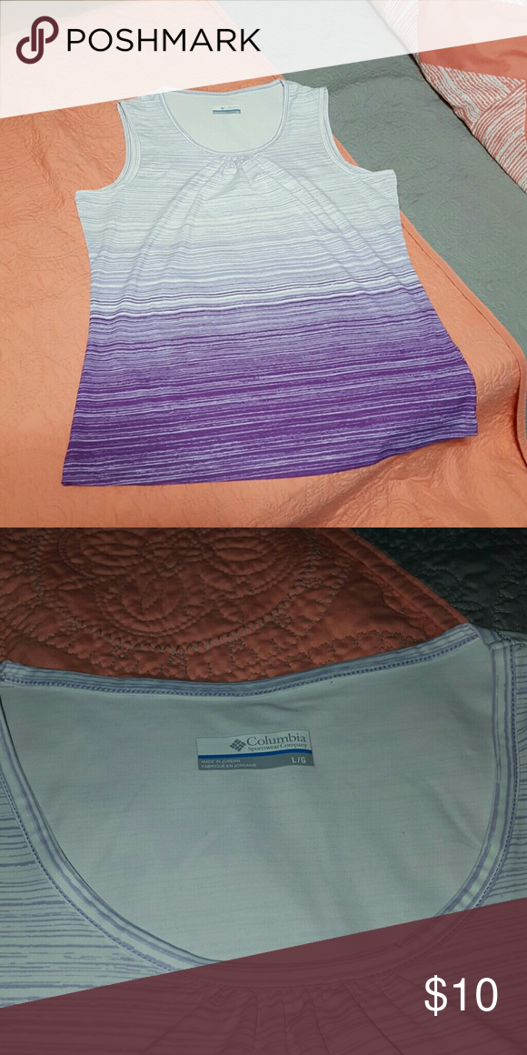 Purple striped Columbia tank top This is an athletic wear tank top made to Wick away moisture super silky feel Columbia Tops