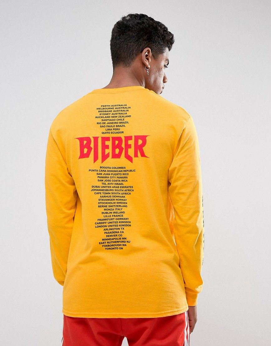baf635292cbe Justin Bieber Stadium Tour Long Sleeve T-Shirt In Yellow | Ideias de ...