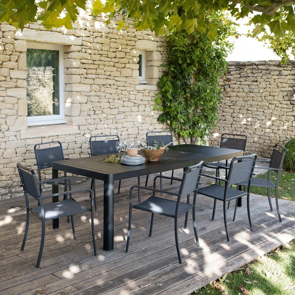 Fauteuil de jardin empilable gris anthracite alin a Alinea jardin mobilier