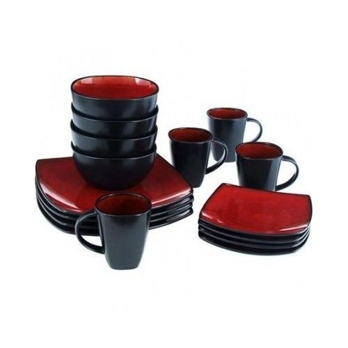 16 Pc Square Plate Set Stoneware Dishes Kitchen Red And Black Service For 4 NEW  sc 1 st  Pinterest & 16 Pc Square Plate Set Stoneware Dishes Kitchen Red And Black ...