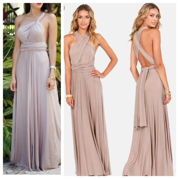 Taupe Beige Multi Way Maxi Bridesmaid Dress Lulu Worn Once To A Beach Wedding