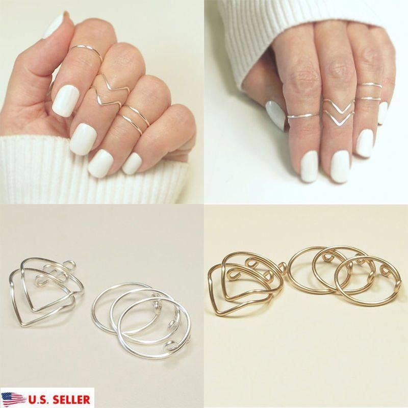 5Pcs//Set Fashion Women Gold Silver Above Knuckle Finger Ring Band Midi Rings New
