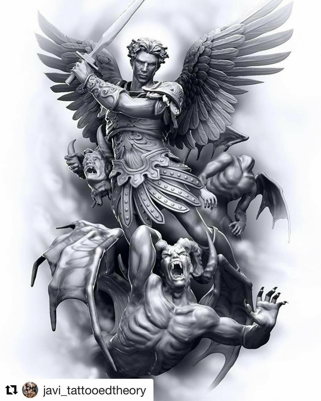Like This Archangel Michael Tattoo Archangel Tattoo Demon Tattoo
