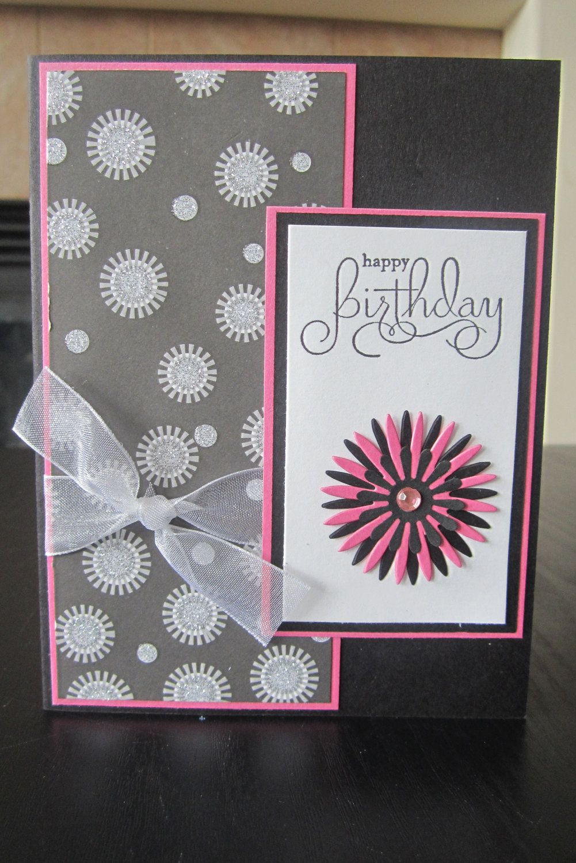 Happy Birthday Glitter handmade greeting Card. $2.00, via Etsy.