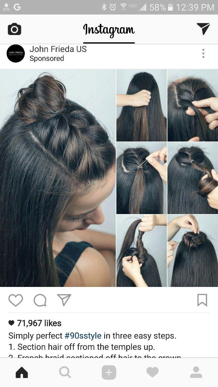 Half up braid topknot top bun short hair pinterest braided