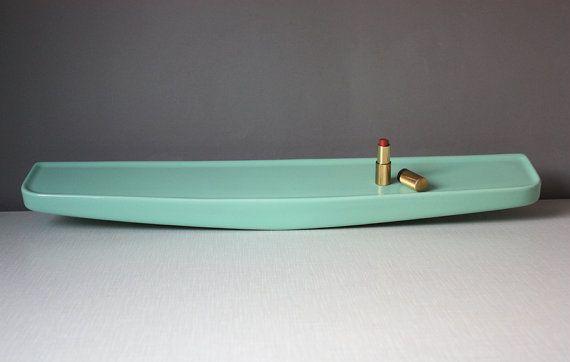 Large Bathroom Shelf Tray Porcelain Ceramic Light Pastel Green